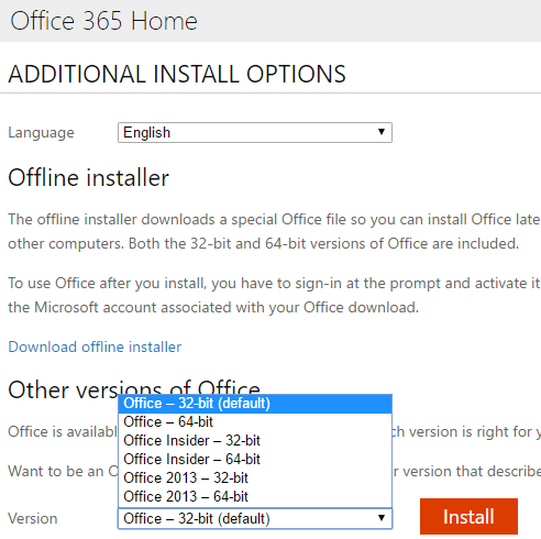 Office versions available for Office 365 subscribers - Windows or