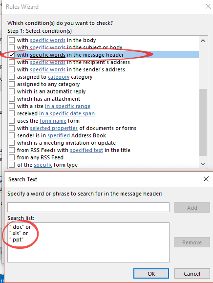 Outlook checks for incoming attachments like  doc  xls etc