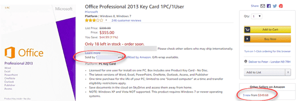 this office 2013 professional is sold by another company with the keycard shipped from an amazon warehouse