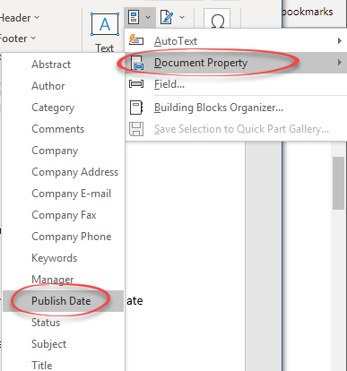 Publish Date and mapped content controls in Word - Office Watch