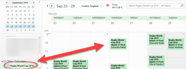 Rugby World Cup 2019 in your Outlook calendar - Office Watch