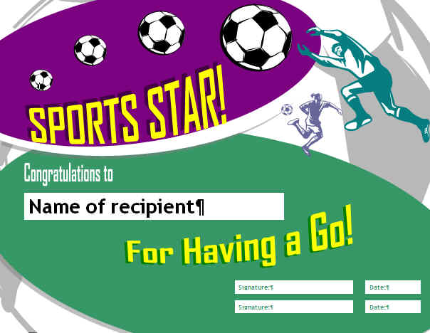 sports cert - Creative Certificates with Word