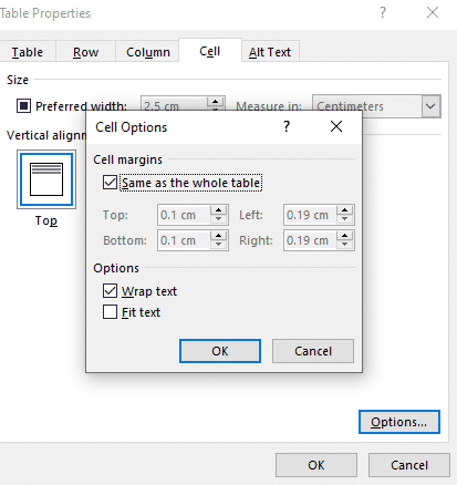 Table Cell Margins And Spacing Options In Word Office Watch - How To Set Paragraph Spacing In Word Table