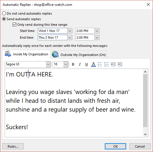 The best way to 39 out of office 39 or vacation message office watch - Out of the office message ...