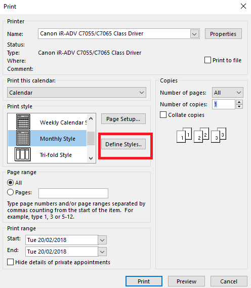 Tweaking Outlook Printed Calendars - Office Watch