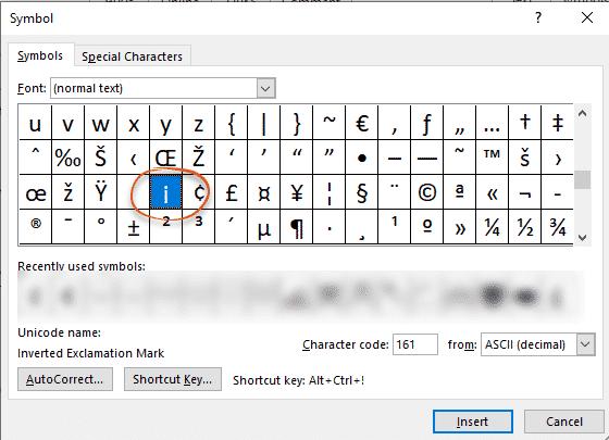 Upside-down or Spanish Exclamation mark in Word - Office Watch