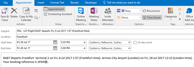 Web links adding Outlook appointments - tricks and traps