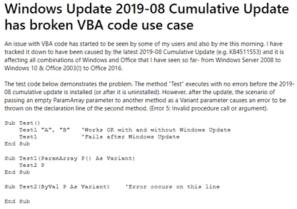 Windows update causes Office VBA to fail - Office Watch
