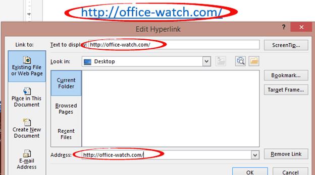 Word Links - external - Office Watch
