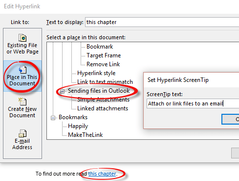 word links internal links via headings or bookmarks